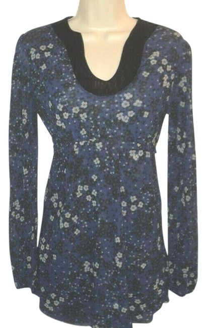 Item - Blue Black Gray Blue-gray with Floral Design Long Sleeves Stretchy Rough-cut Hems Blouse Size 6 (S)