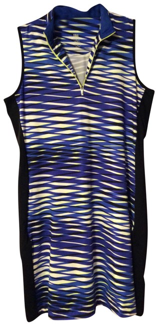 Item - Royal Blue Purple Black Yellow and White Ge1387-d623 Mid-length Short Casual Dress Size 12 (L)