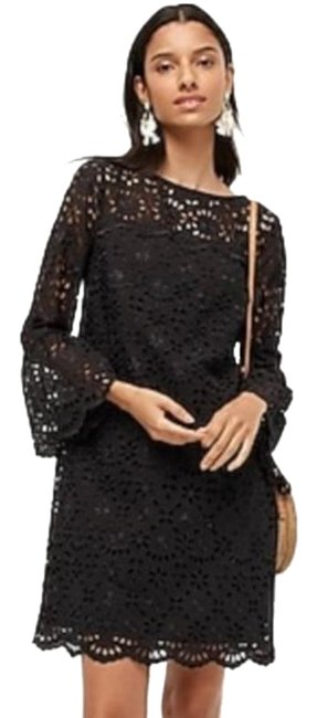 Item - Black Bell Sleeve Embroidered Eyelet Short Casual Dress Size 10 (M)