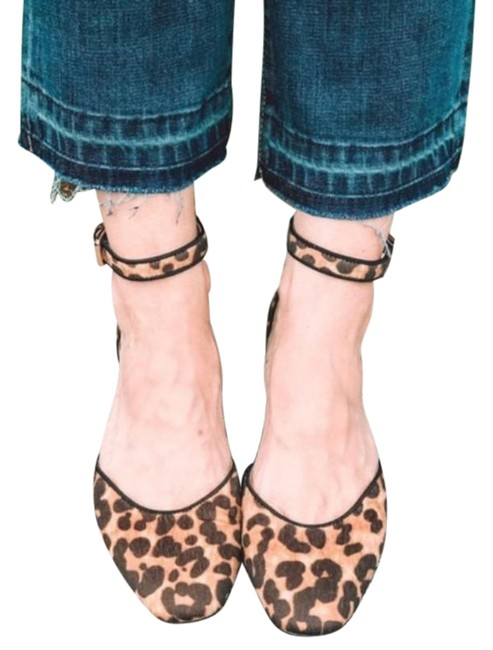 Item - Brown Leopard Fur Kitten Ankle Strap Sandals Size US 8 Regular (M, B)