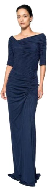 Item - Navy Blue Draped Mesh Ruched-sleeve Gown Long Formal Dress Size 12 (L)
