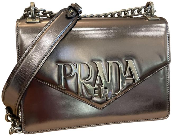 Item - Pattina Vitello Metallic Silver Leather Shoulder Bag