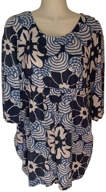 Item - Blue and Off White Floral Tunic/Dress Short Casual Dress Size 10 (M)