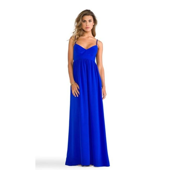 Item - Blue Silk Maxi Empire Waist Gown Casual Bridesmaid/Mob Dress Size 4 (S)