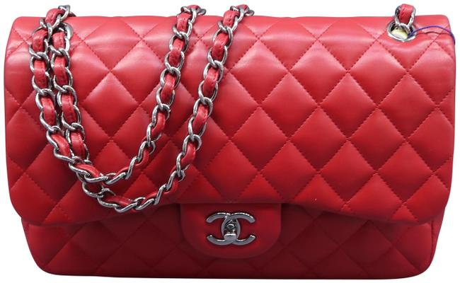 Item - Double Flap Classic Jumbo Red Lambskin Leather Shoulder Bag