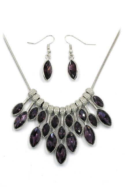 Item - Purple Colorful Crystal Earrings Necklace