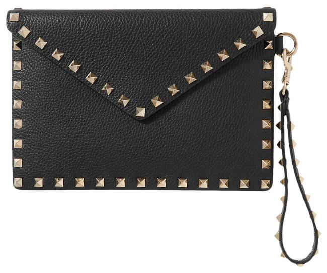 Item - Pebbled Leather Envelope Black Wristlet