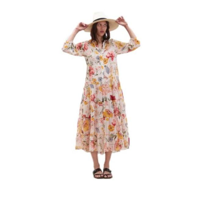 Item - Beige Sheer Chiffon Floral Button Up Long Casual Maxi Dress Size 6 (S)