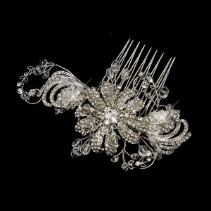 Elegance by Carbonneau Silver Vintage Swirl and Leaves Comb Hair Accessory