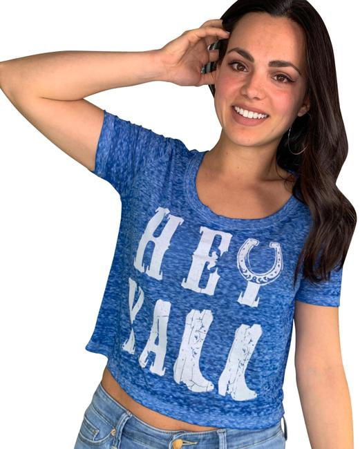 Item - Blue Hey Y'all Cropped Tee Shirt Size 4 (S)