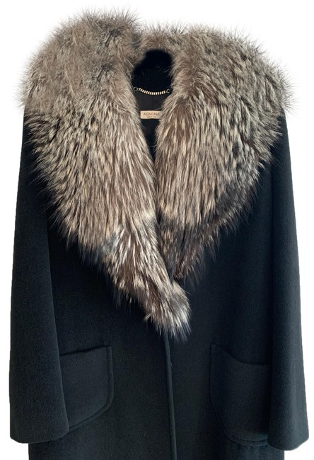 Item - Black Cashmere Long with Collar Coat Size 10 (M)