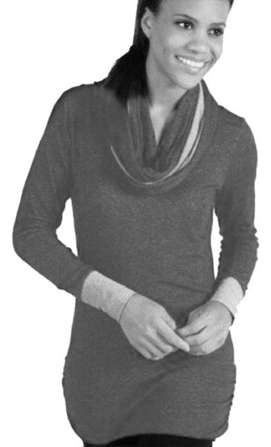 Item - Gray Tone Ruched Attached Hood Infinity Scarf Activewear Top Size 8 (M)