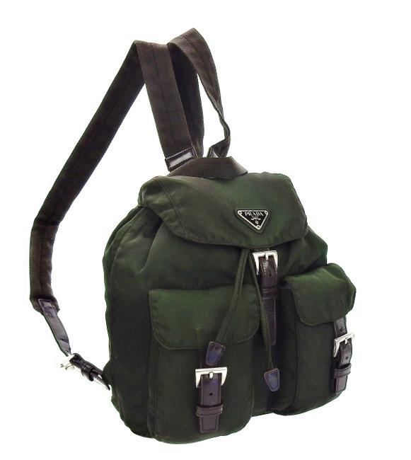 Item - Double Front Pocket Forest Green Tessuto Nylon and Leather Backpack