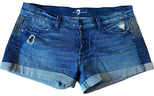 Item - Blue Distressed Embellished Denim Shorts Size 12 (L, 32, 33)