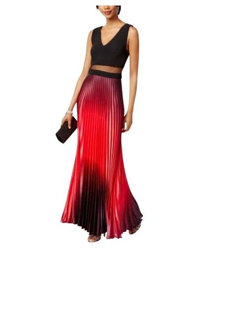 Item - Red Black Burgundy Ombre Pleated Illusion Gown Modern Bridesmaid/Mob Dress Size 4 (S)