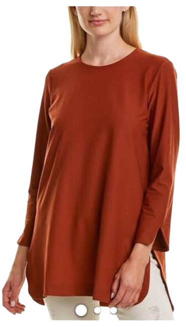 Item - Rust Brown Our Sgnature Light Weight Washable Stretch Crepe Tunic Size 12 (L)