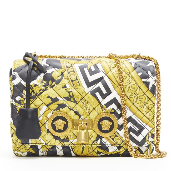 Item - New Savage Barocco Diamond Quilted Icon Sho Black/Gold/White Leather Shoulder Bag