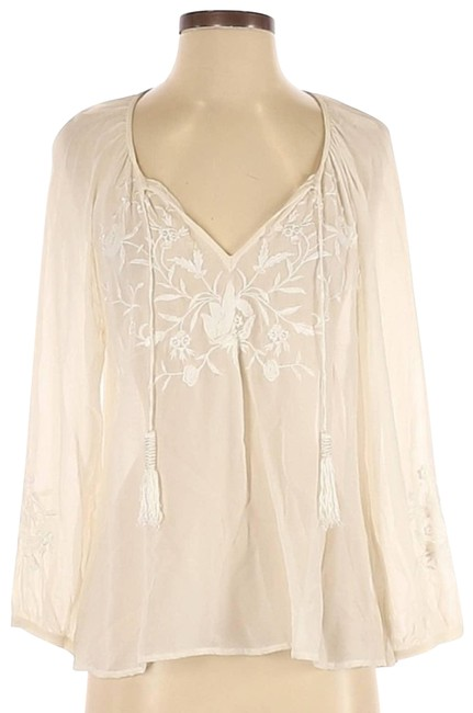 Item - Cream Embroidered Sheer Silk Small Blouse Size 4 (S)