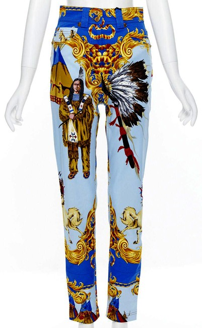Item - White Blue Multi New Tribute Native American 1992 Printed Gold Medusa Stud Relaxed Fit Jeans Size 25 (2, XS)