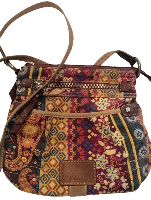 Item - Brown Floral Cloth and Leather Messenger Bag