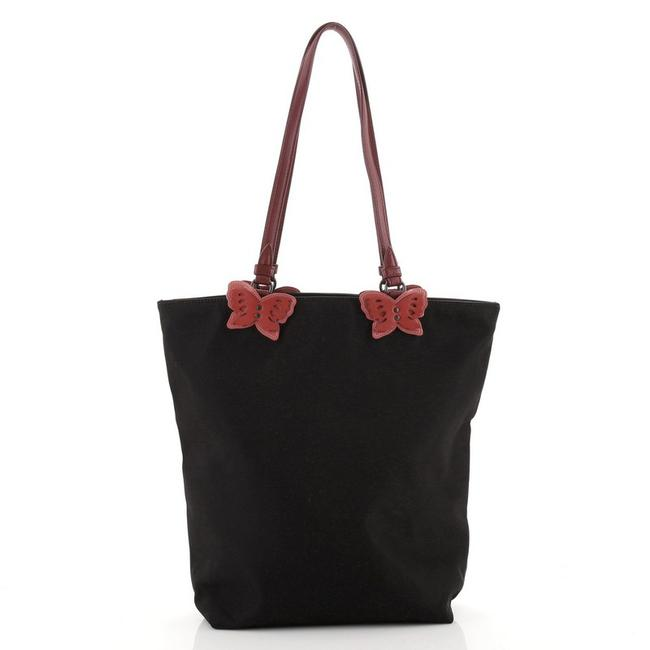 Item - Butterfly Handle and Leather Small Black Nylon Tote