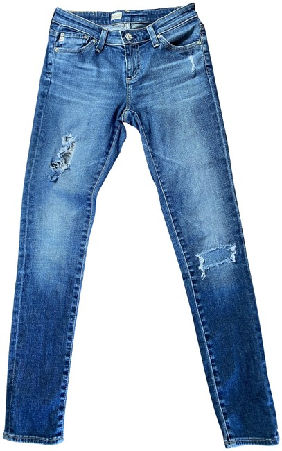 Item - Blue Distressed Super Ankle Skinny Jeans Size 25 (2, XS)