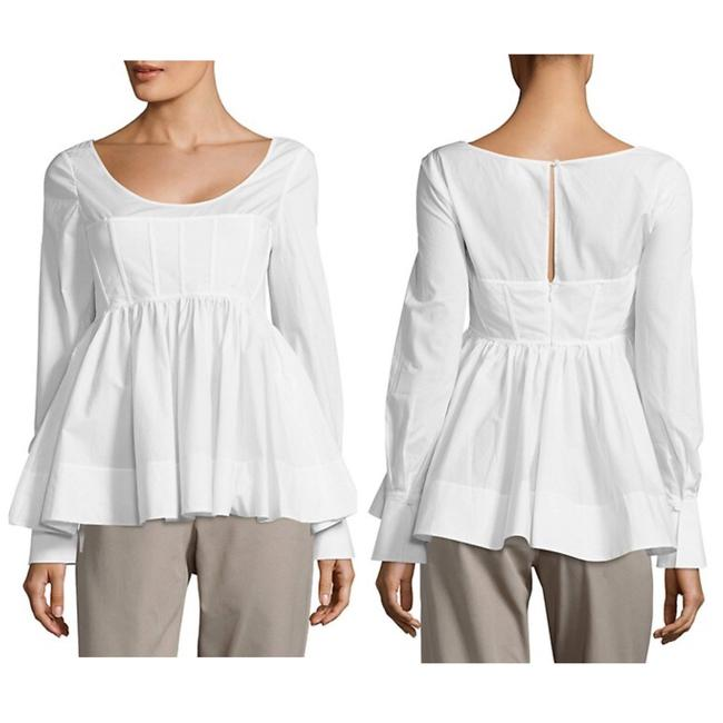 Item - White Arabella Ruffled Long-sleeve Blouse Size 4 (S)