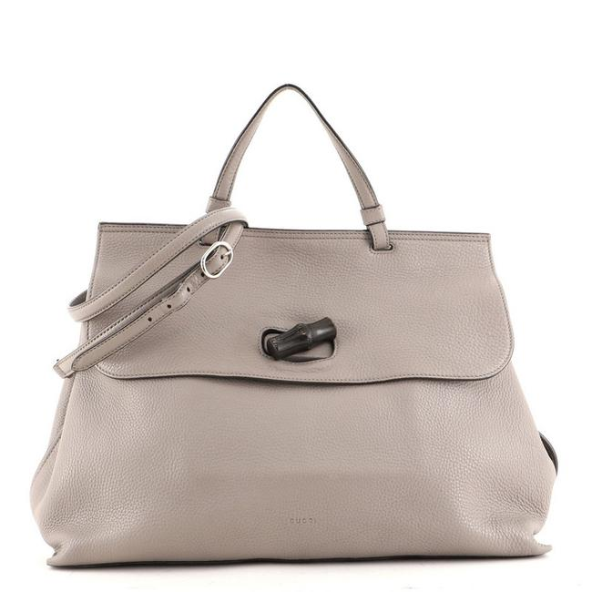 Item - Bamboo Daily Top Handle Bag Large Gray Leather Satchel
