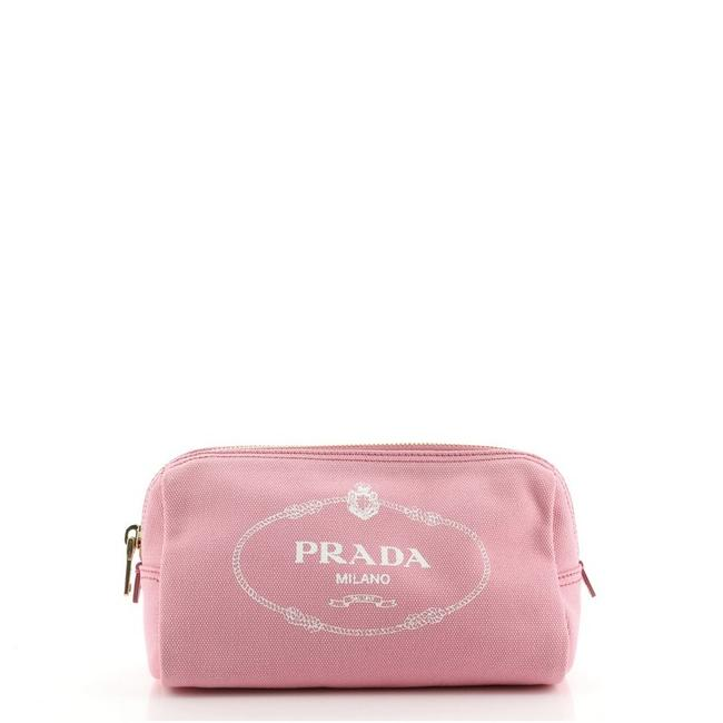 Item - Pink Pouch Logo Canvas Small Cosmetic Bag