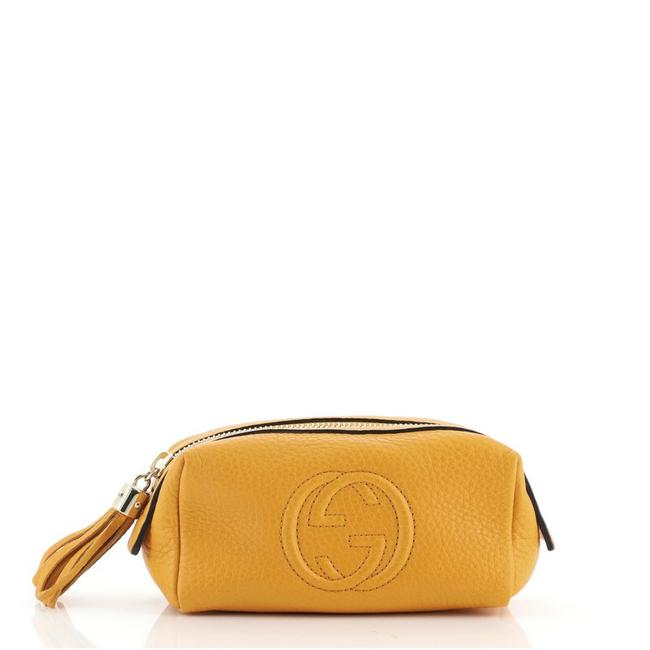 Item - Orange Toiletry Pouch Soho Leather Small Cosmetic Bag