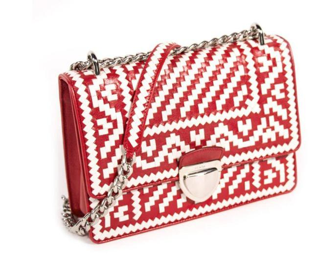 Item - Pattina Woven Pattern Madras White/Red White + Fiery Red Lambskin Leather Shoulder Bag