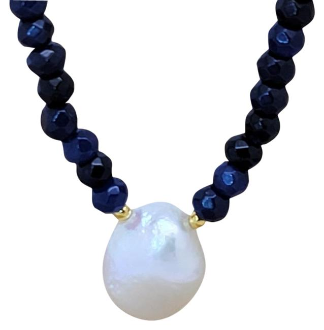 Item - Blue White Baroque Cultured Pearl Freshwater Sapphire Bead Necklace