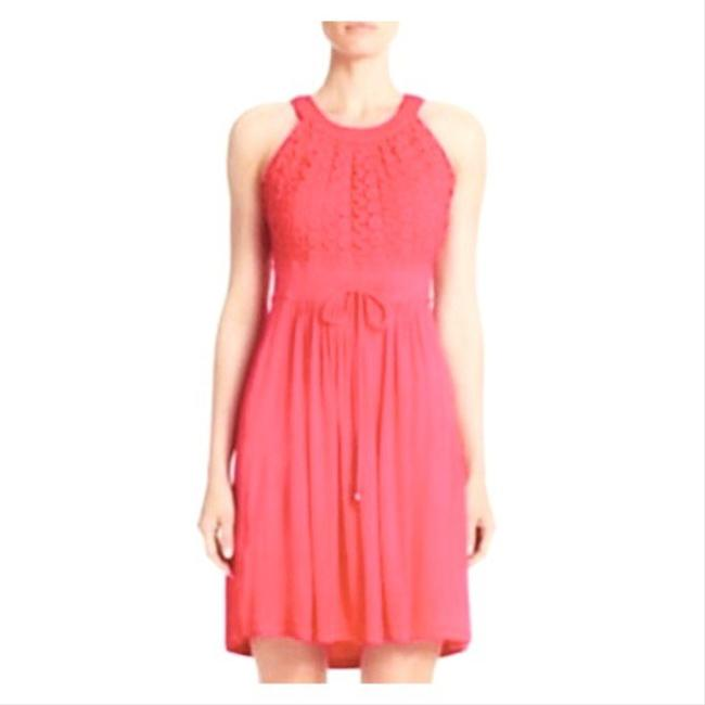Item - Coral Halter Embroidered Knit Sundress Mid-length Short Casual Dress Size 14 (L)