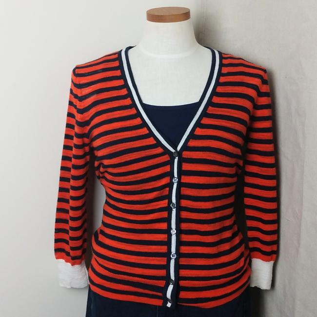 Item - Navy and Orange Gauze Button Cardigan Size 8 (M)