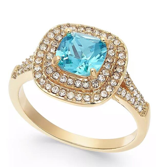 Item - Blue Gold Tone Crystal Square Halo 9 Created For Macy's Ring