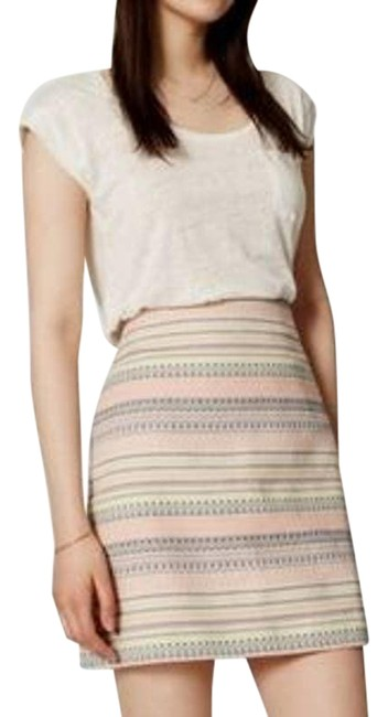 Item - Cream Pink and Blue Striped Aztec 4p Skirt Size Petite 4 (S)