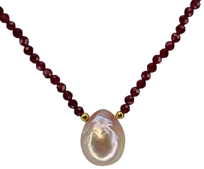 "Item - Pink Red Baroque Cultured Fw Pearl Ruby Crystal Bead 18""+2"" Necklace"