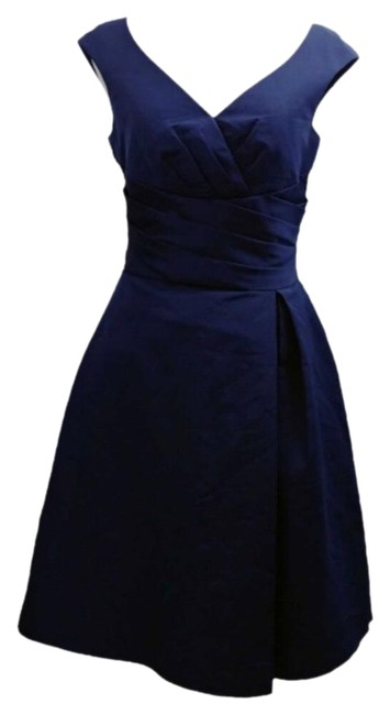 Item - Navy Chic Wrap Pleated Sweetheart Mid-length Cocktail Dress Size 12 (L)