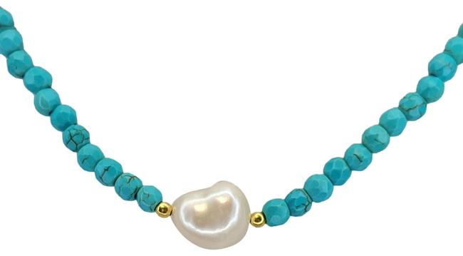 "Item - Blue White Baroque Cultured Pearl Freshwater Turquoise Faceted Bead 18"" Necklace"