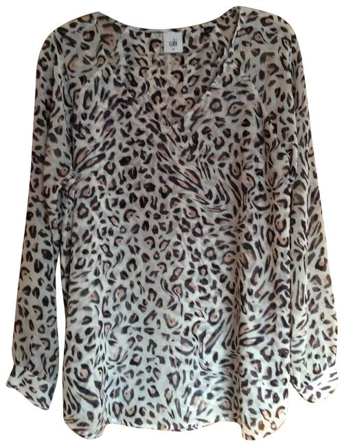 Item - Charcoal Peach and Cream 5337 Blouse Size 10 (M)
