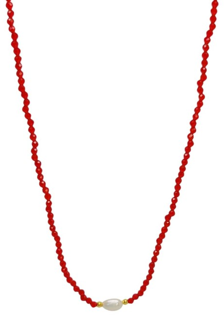 """Item - White Red Dainty Baroque Fw Cultured Pearl Glass Bead 18"""" Necklace"""