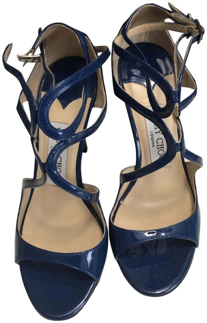 Item - Blue Patent Strappy Sandals Formal Shoes Size EU 35.5 (Approx. US 5.5) Regular (M, B)