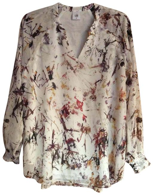 Item - Charcoal Maroon Cream Gold 3694 Blouse Size 10 (M)