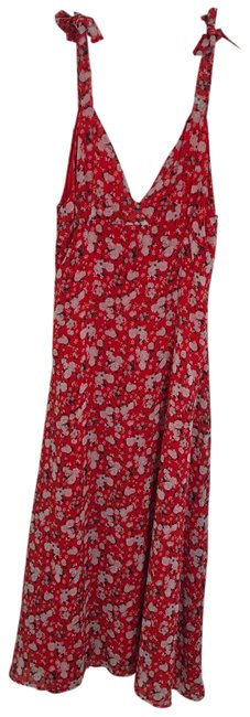 Item - Red Floral Print V-neck Long Casual Maxi Dress Size 6 (S)