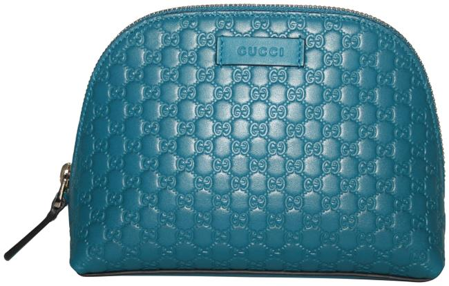 Item - Blue ssima Leather Make-up Case Pouch Cosmetic Bag