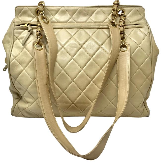 Item - Vinatge Quilted Partial Chain Strap Beige Lambskin Leather Tote