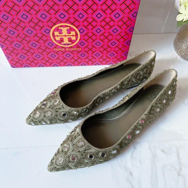 Item - Green Embroidered Yasmin Pointed Toe Beaded Ballet Flat Pumps Size US 10 Regular (M, B)