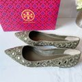 Tory Burch Green Embroidered Yasmin Pointed Toe Beaded Ballet Flat Pumps Size US 10 Regular (M, B) Tory Burch Green Embroidered Yasmin Pointed Toe Beaded Ballet Flat Pumps Size US 10 Regular (M, B) Image 2