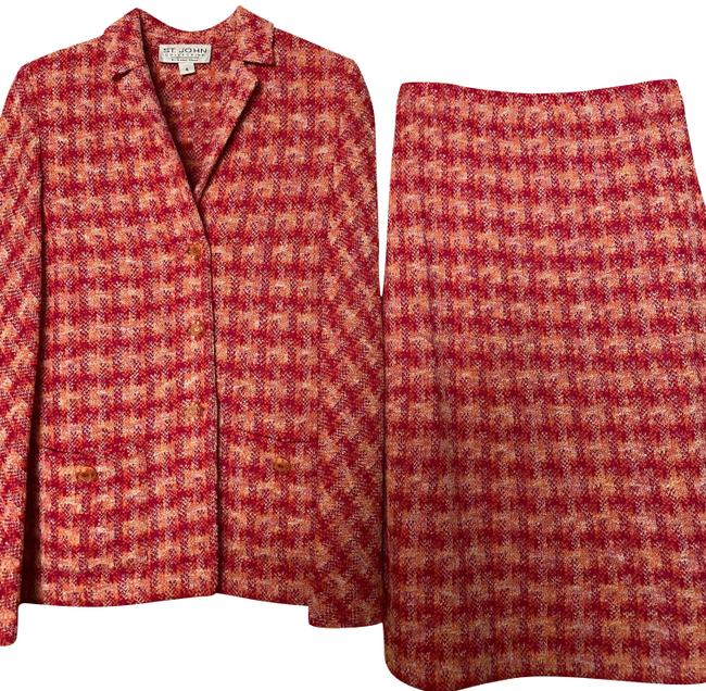 Item - Multi Pink and Orange Collection Skirt Suit Size 6 (S)