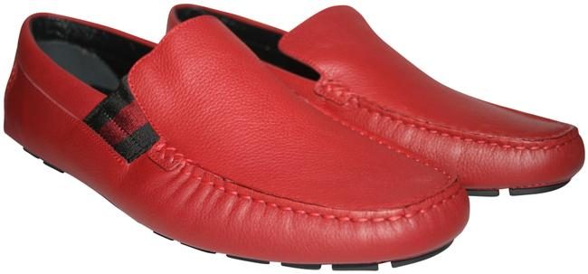 Item - Red Men's Leather Web Drivers Loafers Flats Size US 9 Regular (M, B)
